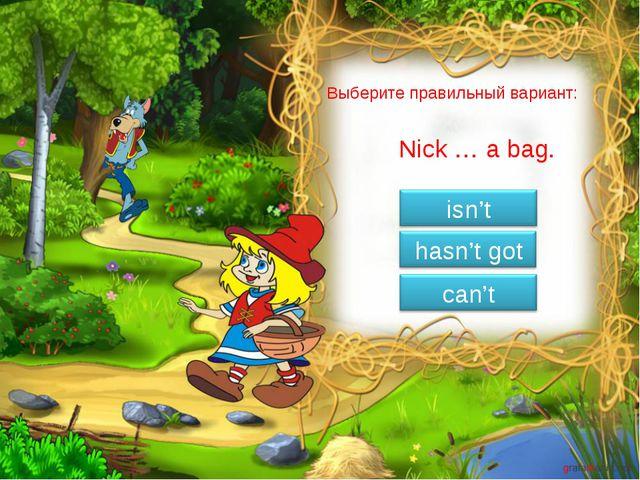 Выберите правильный вариант: Nick … a bag.