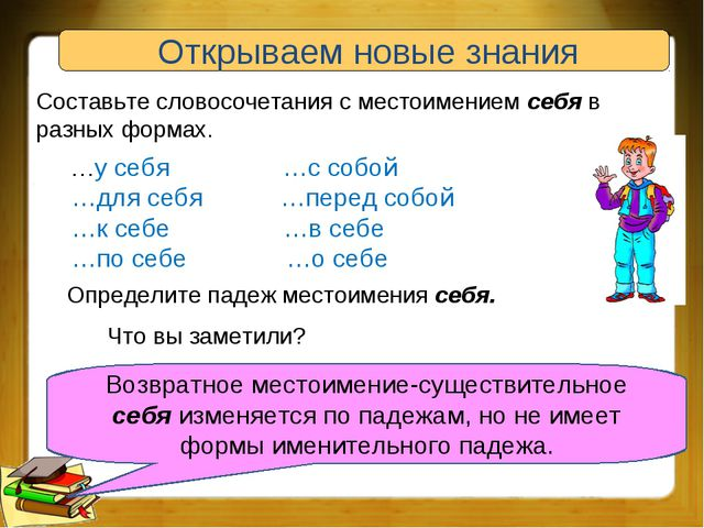 Открываем новые знания Составьте словосочетания с местоимением себя в разных...