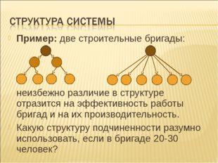 Пример: две строительные бригады: неизбежно различие в структуре отразится на