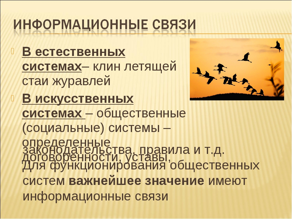 В естественных системах– клин летящей стаи журавлей В искусственных системах...
