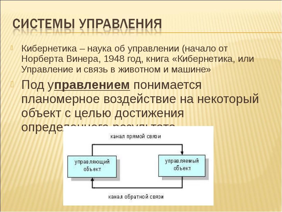 Кибернетика – наука об управлении (начало от Норберта Винера, 1948 год, книга...