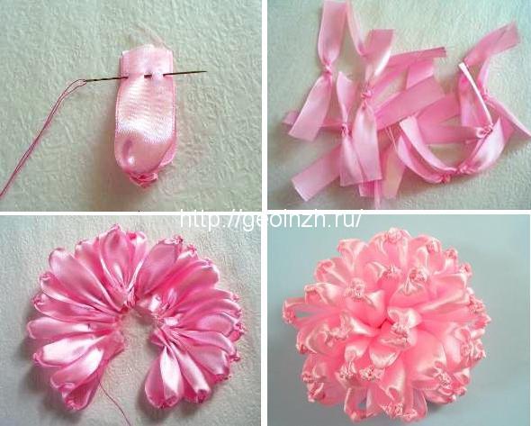 Как сделать цветок из ленточки поэтапно