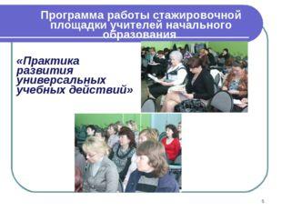 Программа работы стажировочной площадки учителей начального образования «Прак