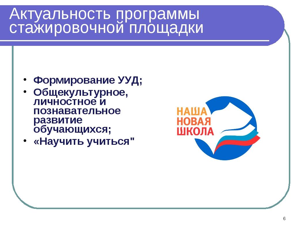Актуальность программы стажировочной площадки Формирование УУД; Общекультурно...