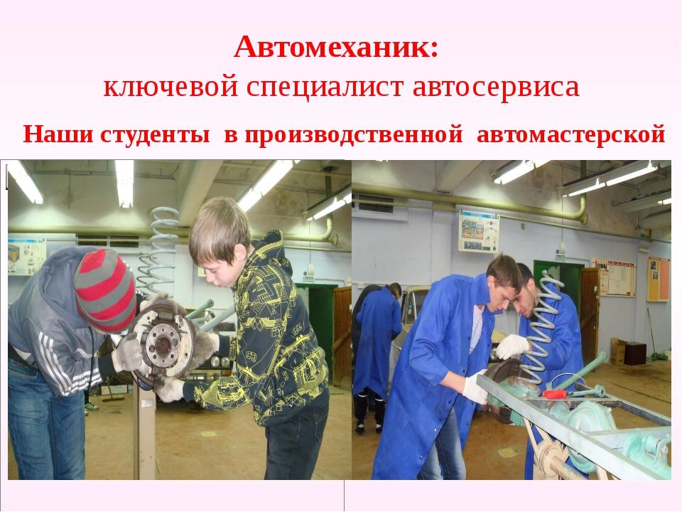 Автомеханик: ключевой специалист автосервиса Наши студенты в производственной...