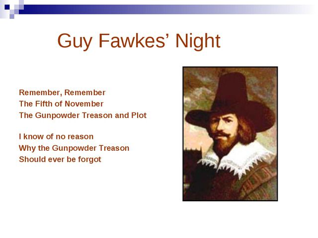Guy Fawkes' Night Remember, Remember The Fifth of November The Gunpowder Tre...