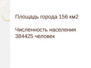 Площадь города 156 км2 Численность населения 384425 человек