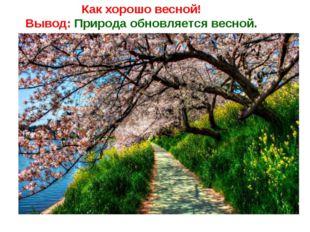 Как хорошо весной! Вывод: Природа обновляется весной.