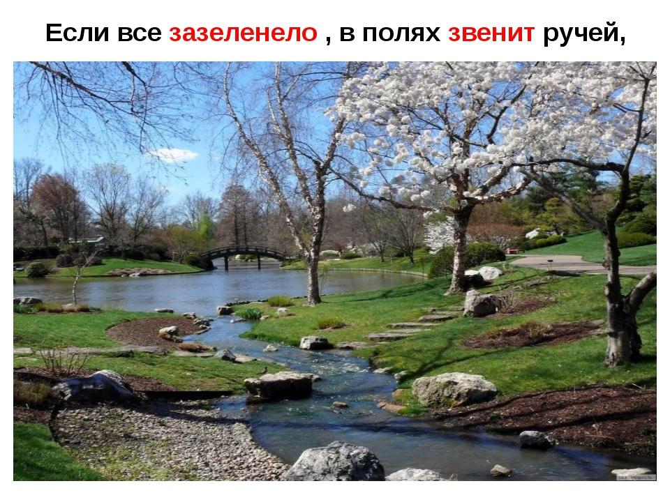 Если все зазеленело , в полях звенит ручей,