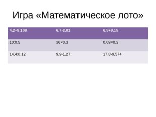Игра «Математическое лото» 4,2+8,108 6,7-2,01 6,5+9,15 10:0,5 36×0,3 0,09×0,3