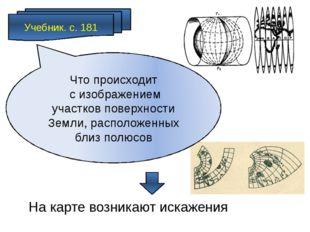 Учебник. с. 181 На карте возникают искажения Что происходит с изображением уч