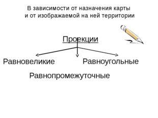 Проекции Равновеликие Равноугольные Равнопромежуточные В зависимости от назна
