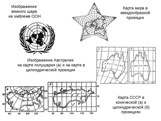 Изображение земного шара на эмблеме ООН Изображение Австралии на карте полуш...