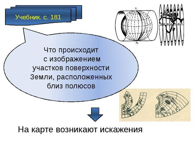Учебник. с. 181 На карте возникают искажения Что происходит с изображением уч...