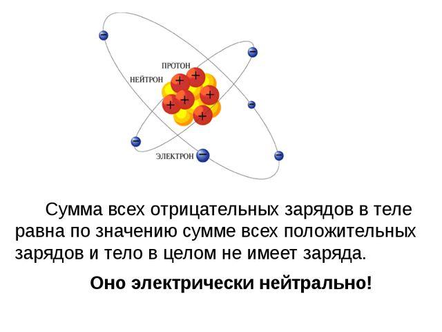 Сумма всех отрицательных зарядов в теле равна по значению сумме всех положит...