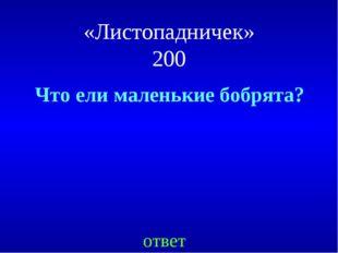 «Листопадничек» 200 Что ели маленькие бобрята? ответ