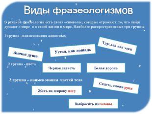 В русской фразеологии есть слова –символы, которые отражают то, что люди дума