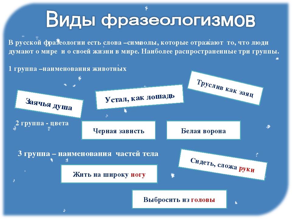В русской фразеологии есть слова –символы, которые отражают то, что люди дума...