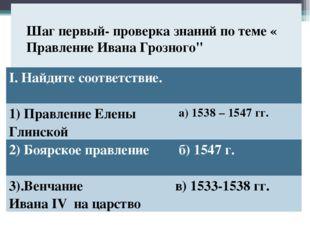 """Шаг первый- проверка знаний по теме « Правление Ивана Грозного"""" I. Найдите с"""