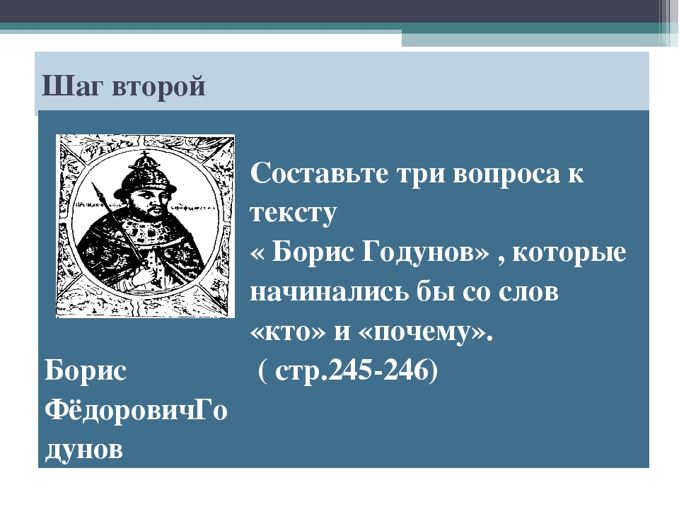 Шаг второй Борис ФёдоровичГодунов Составьте три вопроса к тексту « Борис Год...