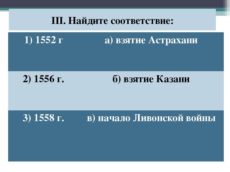 III. Найдите соответствие: 1) 1552 га) взятие Астрахани 2) 1556 г.б) взятие...