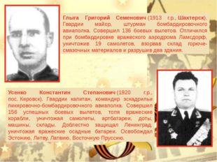 Глыга Григорий Семенович(1913 г.р.,Шахтерск). Гвардии майор, штурман бомба