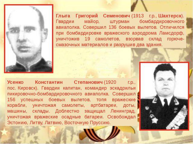 Глыга Григорий Семенович(1913 г.р.,Шахтерск). Гвардии майор, штурман бомба...