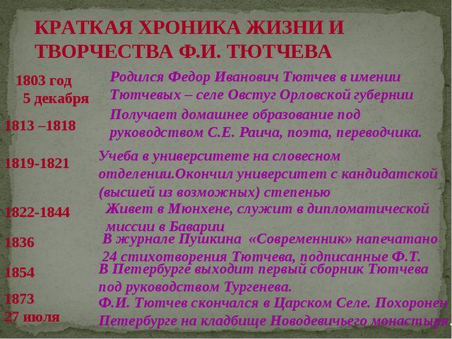 КРАТКАЯ ХРОНИКА ЖИЗНИ И ТВОРЧЕСТВА Ф.И. ТЮТЧЕВА 1803 год 5 декабря Родился Ф...