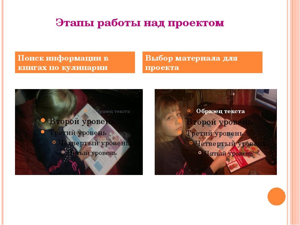 Этапы работы над проектом Поиск информации в книгах по кулинарии Выбор матери...