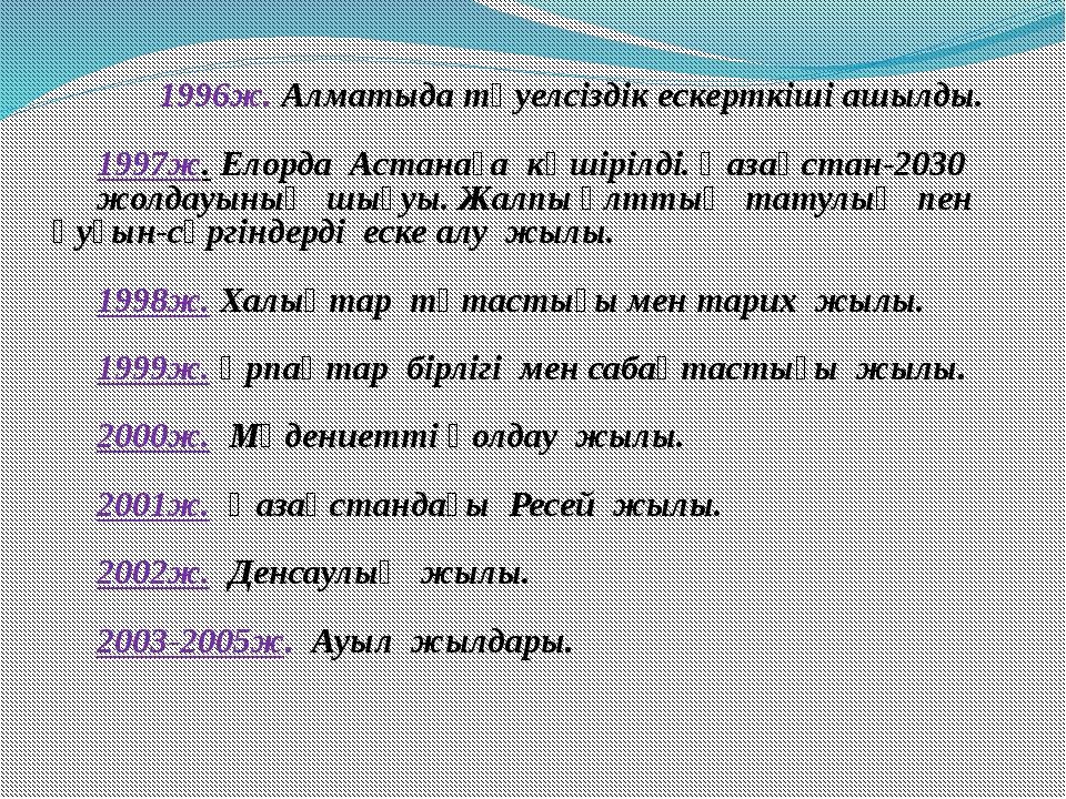 1996ж. Алматыда тәуелсіздік ескерткіші ашылды. 1997ж. Елорда Астанаға көшір...