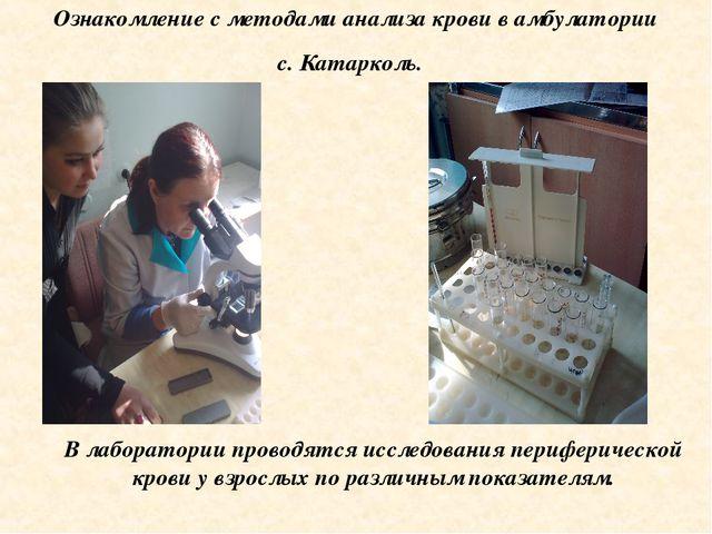 Ознакомление с методами анализа крови в амбулатории с. Катарколь. В лаборатор...