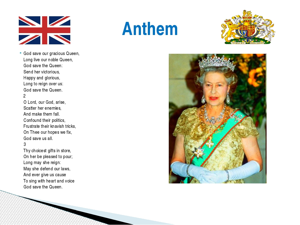 God save our gracious Queen, Long live our noble Queen, God save the Queen: S...