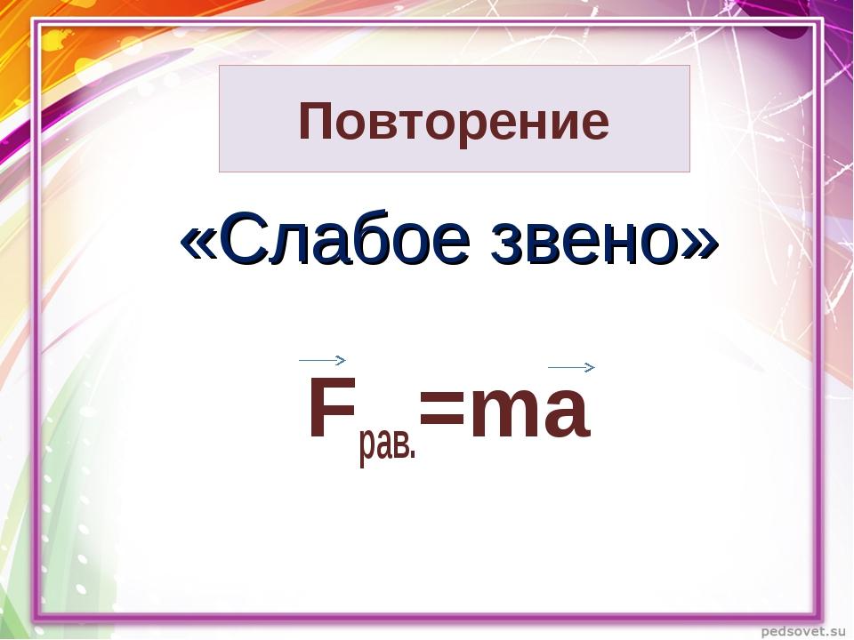 Повторение «Слабое звено» Fрав.=ma
