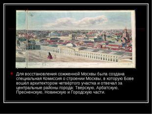Для восстановления сожженной Москвы была создана специальнаяКомиссия о строе