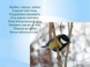 Воробьи, скворцы, синицы И другие тоже птицы. Поздравленья принимайте, И на к