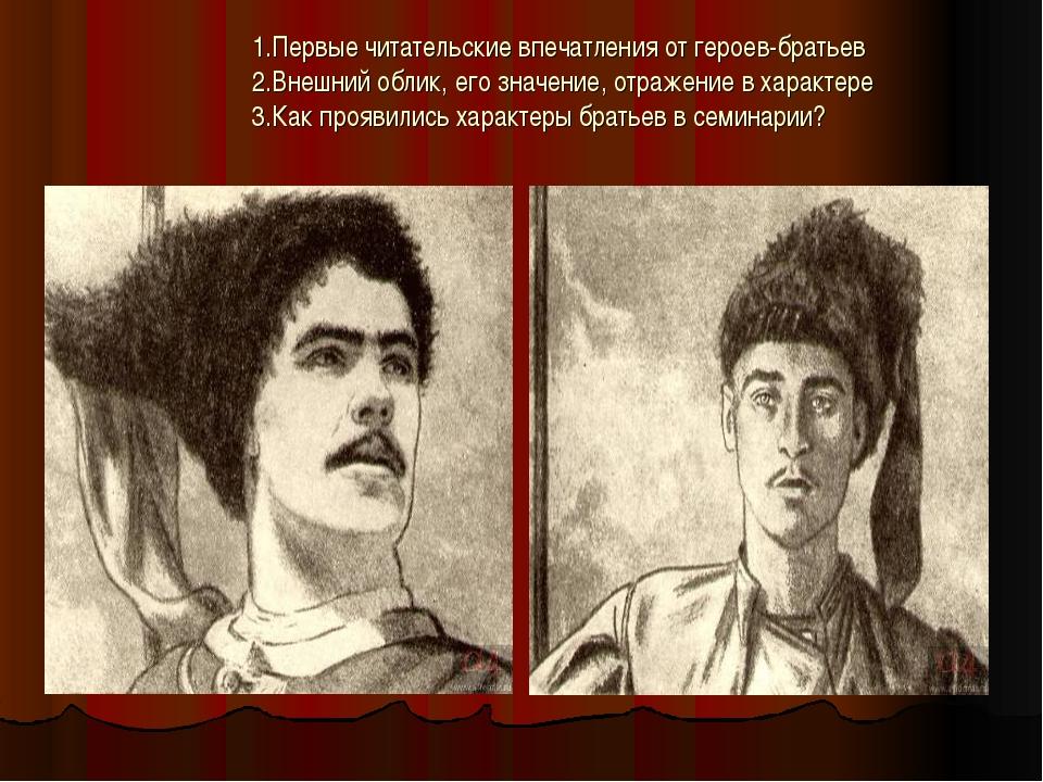 1.Первые читательские впечатления от героев-братьев 2.Внешний облик, его зна...