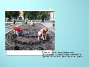 Дети активно включаются в различные структурные элементы среды: посильно уча