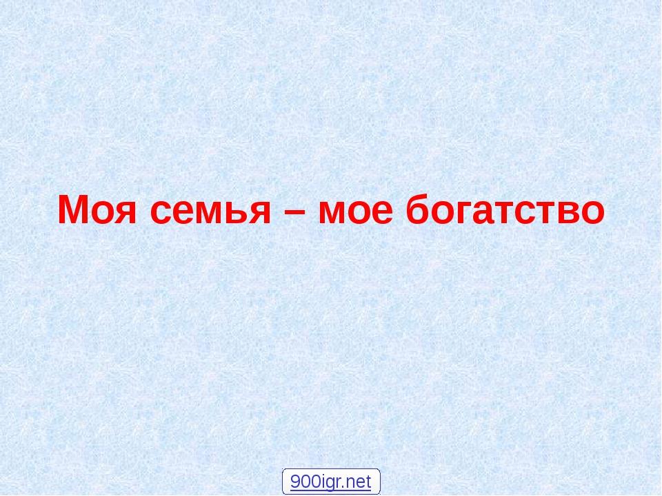 Моя семья – мое богатство 900igr.net