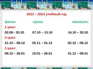 2013 – 2014 учебный год Циклы срезы каникулы 1 цикл 02.09 - 20.10 07.10 – 13.