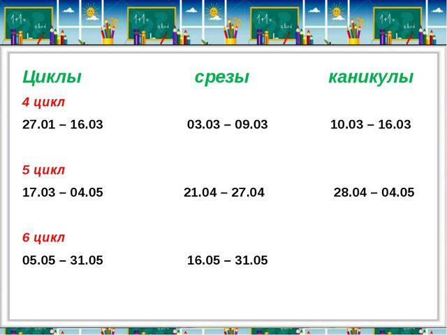 Циклы срезы каникулы 4 цикл 27.01 – 16.03 03.03 – 09.03 10.03 – 16.03 5 цикл...