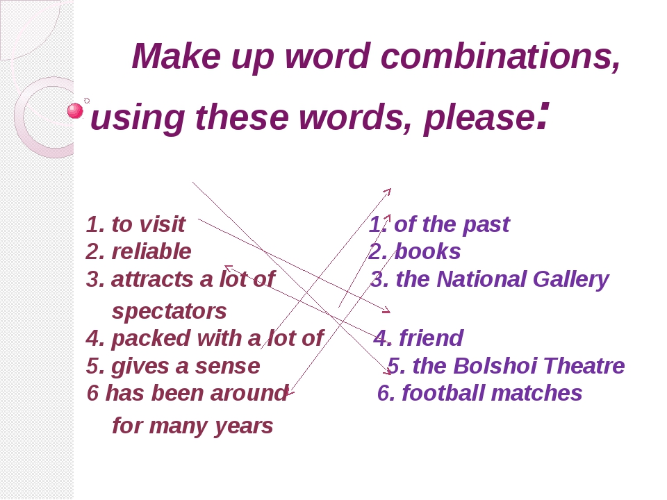 Make up word combinations, using these words, please: 1. to visit 1. of the...