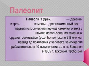 Палеолит Палеоли́т(греч.παλαιός— древний игреч.λίθος— камень) - древнек
