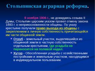 Столыпинская аграрная реформа. 9 ноября 1906 г., не дожидаясь созыва II Думы,