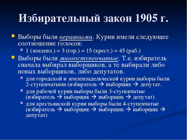 Избирательный закон 1905 г. Выборы были неравными. Курии имели следующее соот...