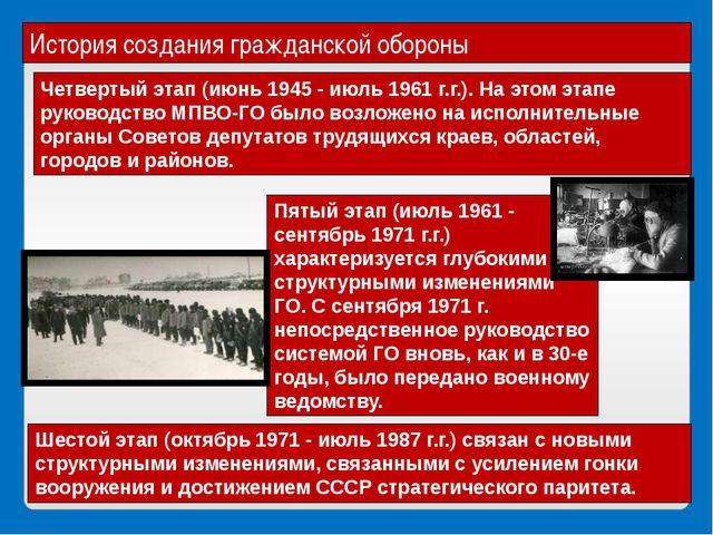 История создания гражданской обороны Четвертый этап (июнь 1945 - июль 1961 г....