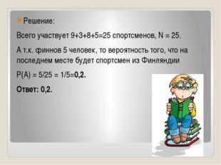 Решение: Всего участвует 9+3+8+5=25 спортсменов, N = 25. А т.к. финнов 5 чел