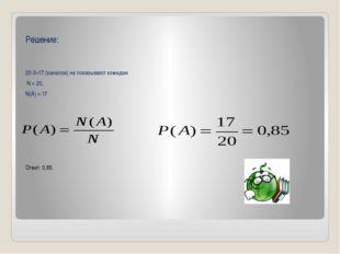 Решение: 20-3=17 (каналов) не показывают комедии N = 20, N(A) = 17 Ответ: 0,