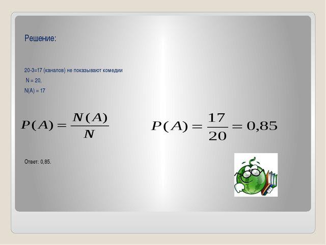 Решение: 20-3=17 (каналов) не показывают комедии N = 20, N(A) = 17 Ответ: 0,...