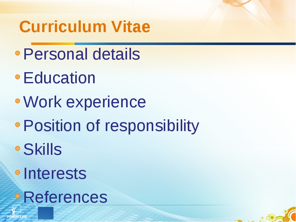 Curriculum Vitae Personal details Education Work experience Position of respo...