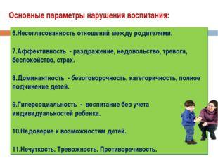 Основные параметры нарушения воспитания: Непонимание своеобразия внутреннего